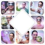 El collage de las fotos de la muchacha del techno Imagenes de archivo