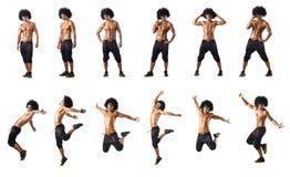 El collage de los bailarines aislados en el fondo blanco Imagen de archivo