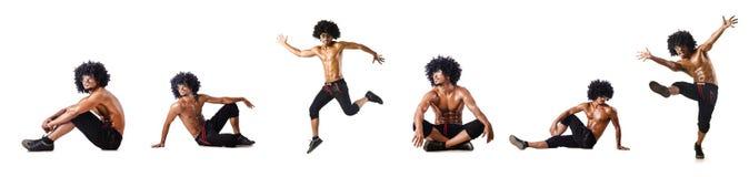 El collage de los bailarines aislados en el fondo blanco Imágenes de archivo libres de regalías