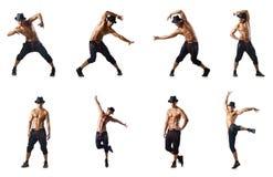 El collage de los bailarines aislados en el fondo blanco Fotografía de archivo