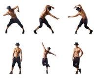 El collage de los bailarines aislados en el fondo blanco Fotos de archivo