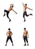 El collage de los bailarines aislados en el fondo blanco Fotografía de archivo libre de regalías