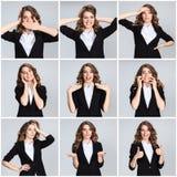 El collage de los portraites de la mujer joven con diversas emociones fotografía de archivo libre de regalías