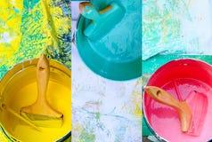 El collage de los potes de pintura rosados, amarillos y azules con los cepillos, lo hace usted mismo, concepto de la decoración d Imagenes de archivo