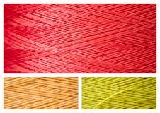 El collage del cierre sube de hilos coloridos sintéticos Imagen de archivo