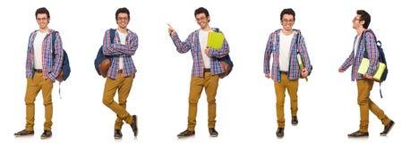 El collage del estudiante con la mochila en blanco Fotos de archivo