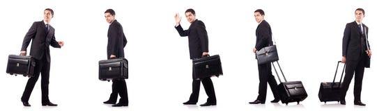 El collage del hombre de negocios aislado en blanco foto de archivo libre de regalías