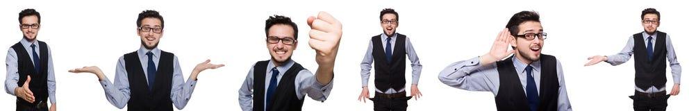 El collage del hombre de negocios divertido en blanco imagen de archivo