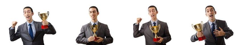 El collage del hombre de negocios que recibe el premio Fotografía de archivo libre de regalías