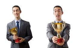 El collage del hombre de negocios que recibe el premio Imagen de archivo libre de regalías