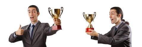 El collage del hombre de negocios que recibe el premio imágenes de archivo libres de regalías