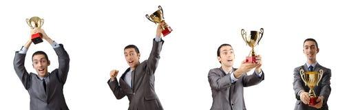 El collage del hombre de negocios que recibe el premio foto de archivo libre de regalías