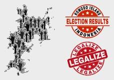 El collage del mapa de la isla de Komodo de la encuesta y la desolación legalizan el sello libre illustration