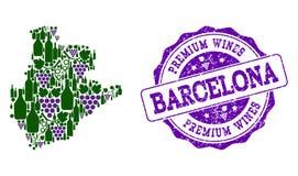 El collage del mapa del vino de la uva de la provincia de Barcelona y los vinos superiores sellan libre illustration