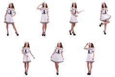 El collage del marinero de la mujer aislado en blanco Imagen de archivo