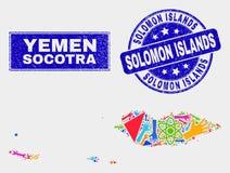 El collage equipa el mapa y la desolación Solomon Islands Watermark del archipiélago del Socotra stock de ilustración