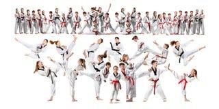 El collage sobre el grupo de niños que entrenan a artes marciales del karate fotos de archivo