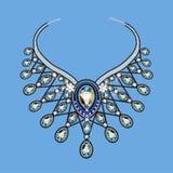 El collar de una mujer de gotas y de piedras preciosas Imágenes de archivo libres de regalías