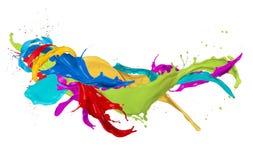El color abstracto salpica en el fondo blanco imágenes de archivo libres de regalías