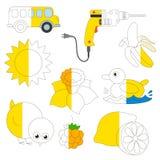 El color amarillo se opone, el juego grande del niño que se coloreará por ejemplo medio libre illustration