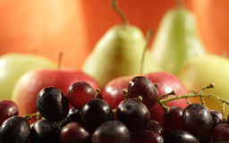 El color da fruto - las uvas, las manzanas y las peras Imágenes de archivo libres de regalías