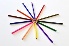 El color de los lápices como forma de la estrella Fotos de archivo