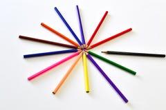 El color de los lápices como forma de la estrella Fotografía de archivo