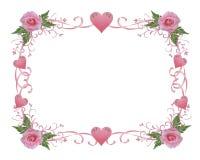 El color de rosa de la frontera de la invitación de la boda se levantó Fotos de archivo libres de regalías