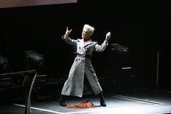 El color de rosa del cantante realiza en el escenario foto de archivo libre de regalías