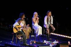 El color de rosa del cantante realiza en el escenario fotos de archivo libres de regalías