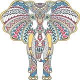 El color del vector adornó el elefante indio Imagen de archivo