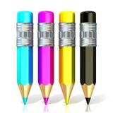 el color dibujó a lápiz (ciánico, magenta, amarillo y negro) Fotografía de archivo