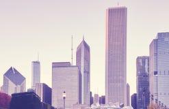 El color entonó la imagen del horizonte de Chicago en la puesta del sol, los E.E.U.U. Imagenes de archivo