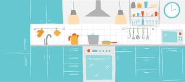 El color interior de la cocina bosqueja la mano que dibuja vista delantera Muebles y equipo de la cocina del ejemplo del vector d Imagen de archivo