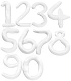 El color suave del número 1 a 0 aisló el backgro blanco Imágenes de archivo libres de regalías
