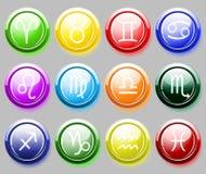 El colore brillante abotona con las muestras del zodiaco para el web Imágenes de archivo libres de regalías