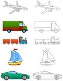 El colorear de los vehículos de la historieta (el 1/2) Fotos de archivo