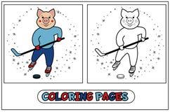 El colorear guarro - jugador de hockey Ilustración del Vector