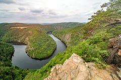 El comandante de la visión, río de Moldava Imagenes de archivo