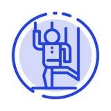El comando, control, humano, manipula, línea de puntos azul línea icono de la manipulación stock de ilustración