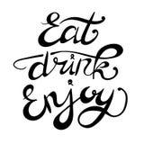 El ` come la bebida disfruta de letras dibujadas mano del VECTOR del ` Imágenes de archivo libres de regalías