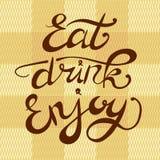El ` come la bebida disfruta de letras dibujadas mano del VECTOR del ` en fondo a cuadros de la materia textil Imagenes de archivo