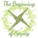 El comenzar del d?a de fiesta de la primavera Cruz de Brigids en una guirnalda de hojas verdes ilustración del vector