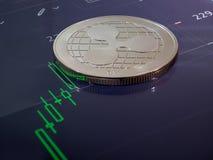 El comercio de Cryptocurrency tiene cambio de la tendencia al alza fotografía de archivo