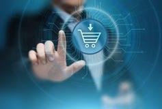 El comercio electrónico añade al concepto en línea de Internet de la tecnología del negocio de las compras del carro fotografía de archivo
