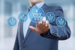 El comercio electrónico añade al concepto en línea de Internet de la tecnología del negocio de las compras del carro imagen de archivo