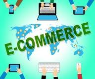 El comercio electrónico en línea representa el sitio web y el anuncio publicitario ilustración del vector