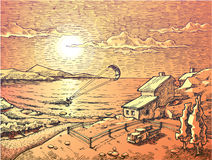 El cometa-practicar surf de la puesta del sol. libre illustration