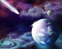 El cometa se está acercando a la tierra del planeta stock de ilustración