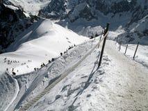 El comienzo del rastreo al valle Blanche Fotos de archivo